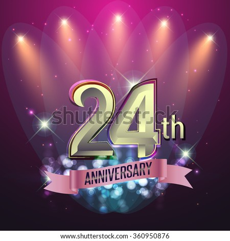 24th Anniversary, Party poster, banner or invitation - background glowing element. Vector Illustration. #360950876