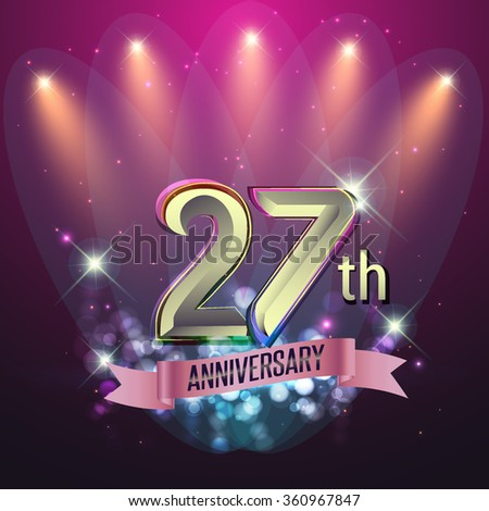 27th Anniversary, Party poster, banner or invitation - background glowing element. Vector Illustration. #360967847
