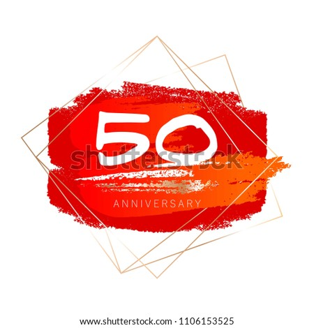 50th anniversary. Red and orange brush strokes. White and gold brush strokes. Thin geometric golden frames.