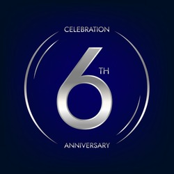 6th anniversary. Six years birthday celebration banner in silver color. Circular logo with elegant number design.
