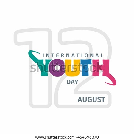 12th August International Youth Day colorful lettering