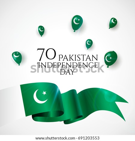 14th August. Pakistan Happy Independence Day greeting card. Waving pakistanian flag and balloons with cinfetti, ribbon isolated on white background. Patriotic Symbolic background Vector illustration