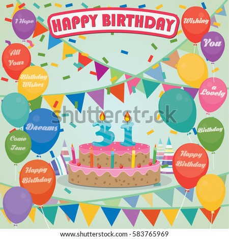 31th Birthday Cake And Decoration Background In Flat Design With Balloons Candles