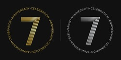 7th birthday. Seven years anniversary celebration banner in golden and silver colors. Circular logo with original number design in elegant lines.