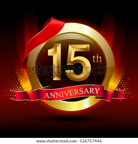 15th golden anniversary logo with ring and red ribbon vector design