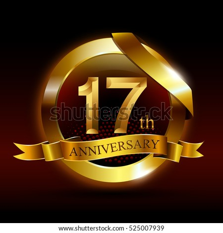 7th golden anniversary logo with ring and ribbon on black