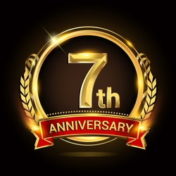 7th golden anniversary logo, with shiny ring and red ribbon, laurel wreath isolated on black background, vector design