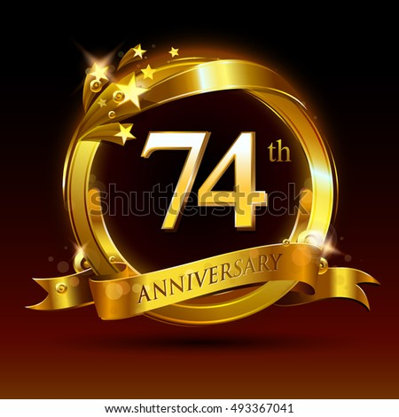 74th golden anniversary logo 74 years anniversary celebration with