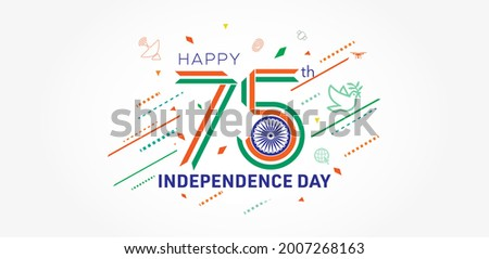75th independence day India. 75 years success freedom celebration festival with tricolor background concept