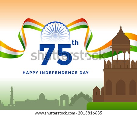 75th Independence day of India greeting with tricolor Indian flag. 15th August template for website and social media.