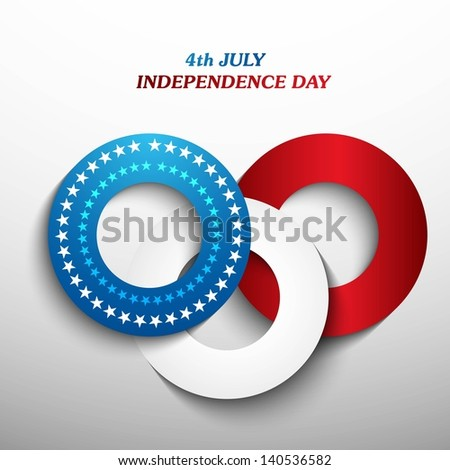 4th july american independence day blue whit and red circle background vector