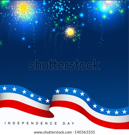 4th July, American Independence Day celebration background with fire crackers.