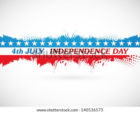 4th july american independence day grunge flag background white vector