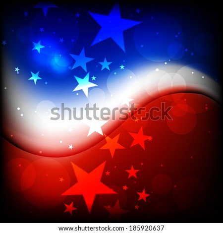 4th July, American Independence Day wave background with glowing star or bubble