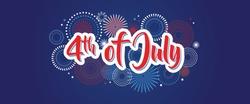 4th July fireworks background, fourth vector banner, American national flag decoration, celebration usa independence day illustration, symbol of united states freedom. vector illustration