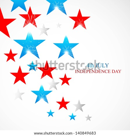 4th July stars of American independence day white background