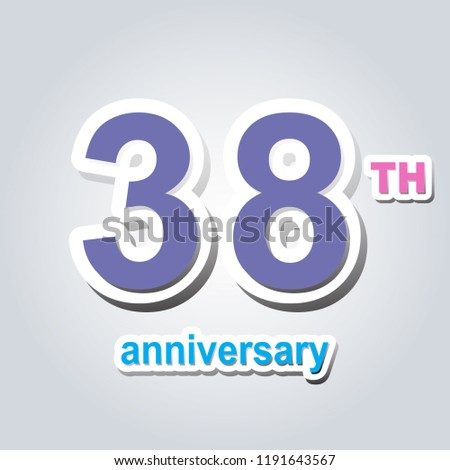 38 th logo and icon design with