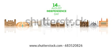 Shutterstock 14th of August Pakistan Independence Day background with famous landmarks of Pakistan.