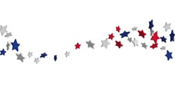 4th of July. Abstract background of falling red, blue, white stars in the colors of the United States, the patriotic stars of America confetti. USA banner background. Vector illustration