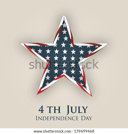 4th of July, American Independence Day background with star in national flag colors.