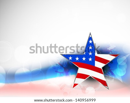 4th of July, American Independence Day background with star in national flag colors on grungy wave background. - stock vector