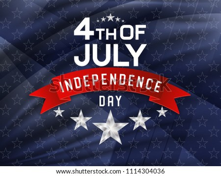 4th of July, american independence day celebration background with silver stars and red ribbon. Vector illustration. #1114304036