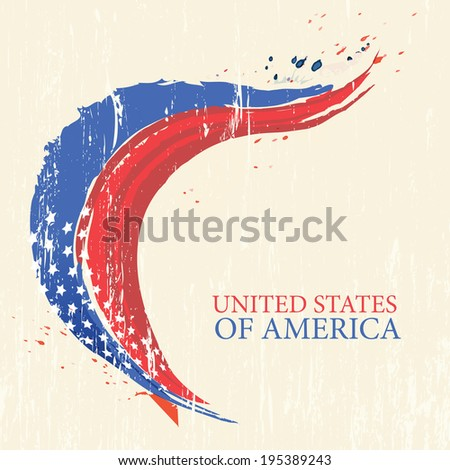 4th of july American independence day greeting card with flag. Vector illustration in vintage style. Retro poster.