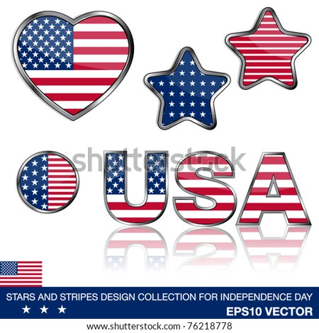 4th of July collection of design elements, eps10 illustration