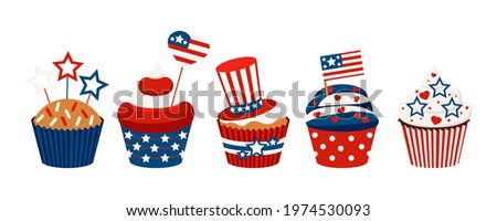 4th of July cupcakes set sweets food. USA happy independence day icing muffin with red and blue stars, flag, cylinder hat. Flat design cartoon holiday dessert vector clip art illustration. Foto stock ©