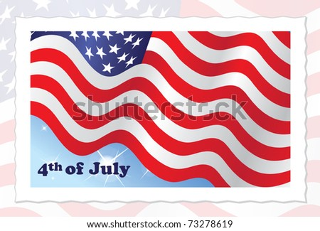 4th of July Independence Day - American Flag on stamp - vector illustration