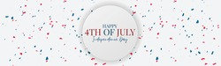 4th of July Independence Day banner or header. United States of America national holiday concept. Simple background design. vector illustration.
