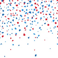 4th of July - Independence day celebration background. Blue and red confetti on white background. Vector illustration