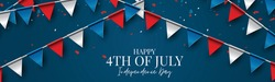 4th of July Independence day celebration banner or header. USA national holiday design concept with bunting flags. Vector illustration.