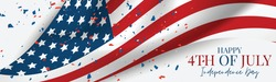 4th of July Independence Day celebration banner or header. USA national holiday design concept with a waving flag and confetti. Vector illustration.