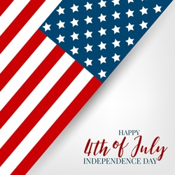 4th of July Independence day celebration banner. USA national holiday design concept with a flag. Vector illustration.