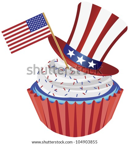 4th of July Independence Day Red White and Blue Cupcake with USA Flags and Hat Illustration - stock vector