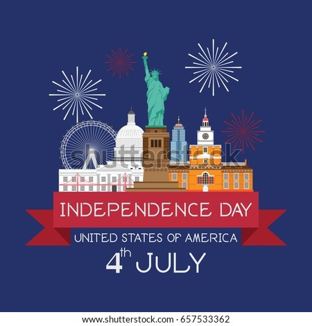 4th Of July Independence day with Landmark of United States Vector.