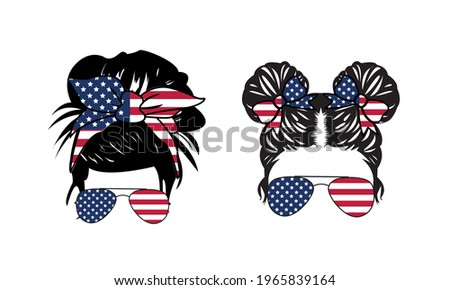 4th of July Messy Bun Girl American  , United States of America (USA) Flag Messy Bun - US independence day Vector and Clip Art Foto stock ©