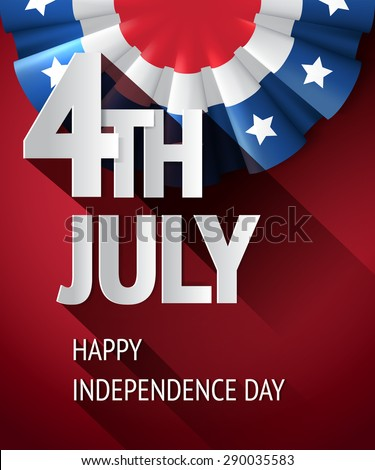 4th of july poster, vector USA independence celebration banner with decoration bunting ribbon