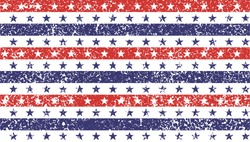 4th of July Stars and Stripes Grunge Abstract Seamless Pattern, colored as USA Flag. Vector Illustration of Stars and Stripes Grunge Background for Celebration Holiday American President Day.