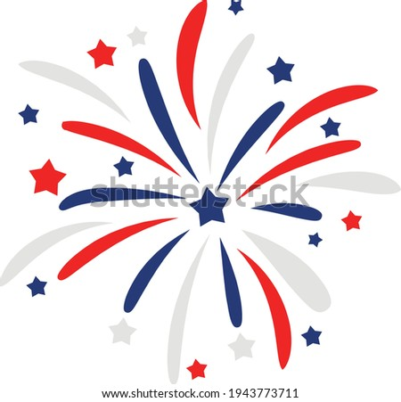 4th of July Svg vector Illustration isolated on white background. Independence day party decor. 4th of July fireworks svg for design shirt and scrapbooking.Red blue and white Fireworks with stars.