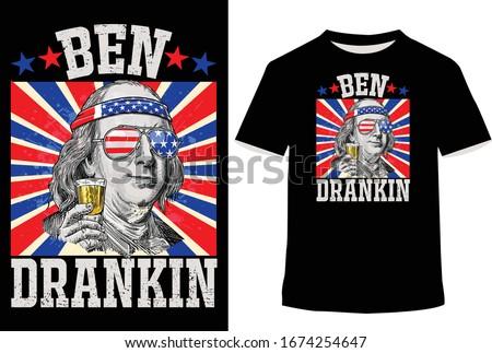 4th of July t-Shirts for Ben Drankin Benjamin Franklin Tee. t-shirt vector illustrator   Stock photo ©