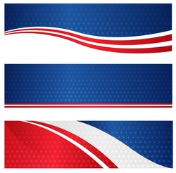 4th of July USA patriotic web header / banner collection on white background