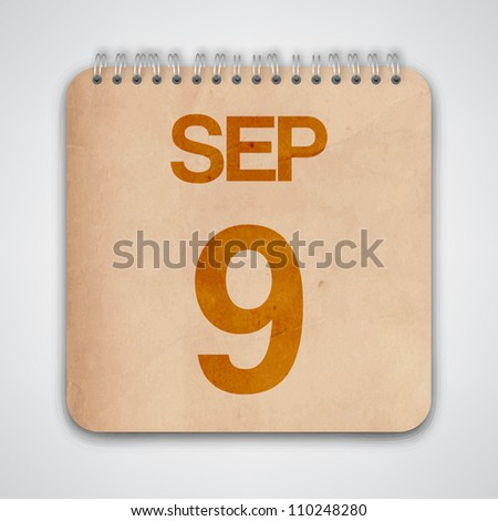 9th September on Old Notebook Vector