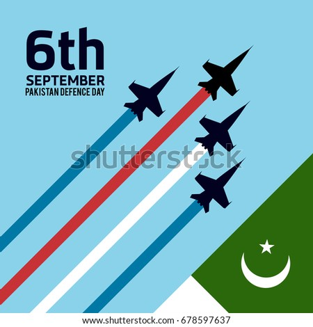 6th Septermber. Happy Defence Day. Pakistan Flag with Airplanes on blue  background