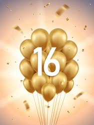 16th Year anniversary celebration background. Golden balloons and confetti with sunbeams in background.
