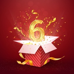 6 th year number anniversary and open gift box with explosions confetti isolated design element. Template six sixth birthday celebration on red background vector Illustration.