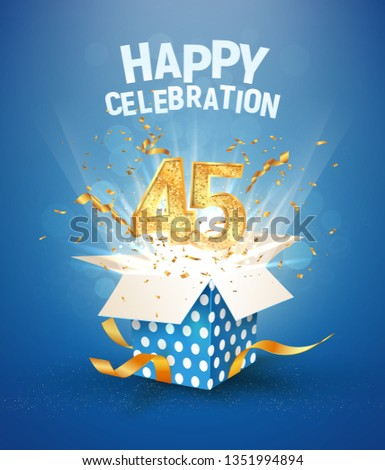 45 th years anniversary and open gift box with explosions confetti. Isolated design element. Template forty fifth birthday celebration on blue background vector Illustration