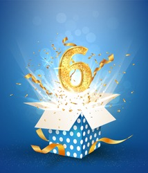 6 th years anniversary and open gift box with explosions confetti. Template six birthday celebration on blue background vector Illustration