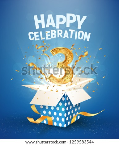 3th years anniversary and open gift box with explosions confetti. Template three birthday celebration on blue background vector Illustration